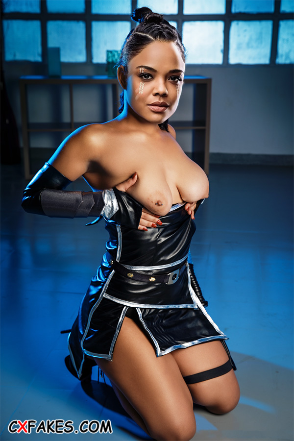 Valkyrie (Tessa Thompson) Shows Her Boobs